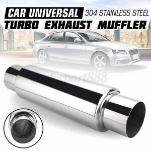 "3'' Car Exhaust Hotdog Resonator Muffler Pipe 16"" Long High Flow Stainless Steel"