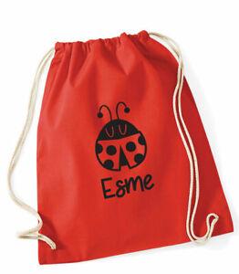 Personalised Ladybird PE bag,cotton gym bag/drawstring, School bag, 3 colours