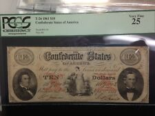 1861 T-26  $10 MAID & ANCHOR CONFEDERATE STATES OF AMERICA , PCGS  VF25