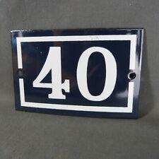 French Vintage Blue Enamel Metal Street Number n°40 Door House Plaque