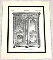 1903 Antico Stampa 18th Secolo Reggenza Provinciale Francese Quercia Wardrobe