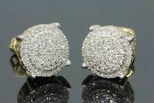 Men's Women's 14K Yellow Gold Over 1.50 Ct D/VVS1 Diamond Cluster Stud Earrings