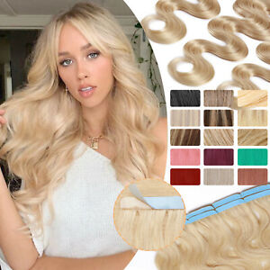 US Tape In 100% Remy Human Hair Extensions Russian Skin Weft Full Head Long waye