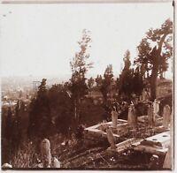 Costantinopoli Turchia Cimitero di Eyoub C4 Placca Da Lente Stereo Vintage 1926