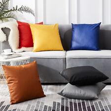 Plain Faux Leather Cushion Cover Soft PU Sofa Throw Pillow Case Seat Home Decor