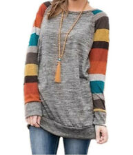 UK Womens Autumn Long Sleeve Striped Tops Ladies Loose Jumper Blouse Plus Size