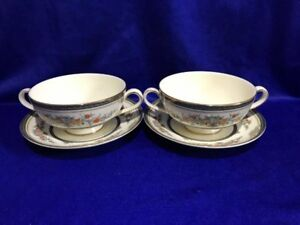 **IMMACULATE** Minton 'Stanwood' 2 x Soup Bowls & Stands