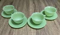 """Vintage Rare Set Of 4 Cups And Saucers, Anchor Hocking """"Jadeite"""" Glass"""