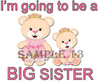 BIG SISTER I/'M GOING TO BE A BIG SISTER IRON ON TRANSFER Ref 42-09