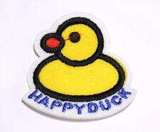 Happy Duck Ente Bügelbild Aufnäher Applikation Patch Nähen Basteln Verzieren