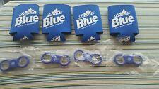 Labatt Blue Beer Koozie Bottle (4) Pack w/ 4 Spinner Bottle Opener New