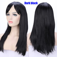 Thick Long Halloween Straight Full Wig Synthetic Daily Wigs Pink Blue Purple Red