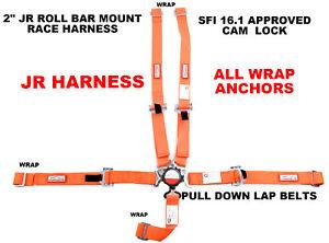 QUARTER MIDGET RACE HARNESS SFI 16.1 ALL WRAP CAM LOCK 5 POINT SEAT BELT ORANGE