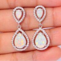 925 Silver White Topaz Woman Opal Dangle Earrings Chic Wedding Birthday Gift New