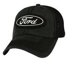 NEW OFFICIAL FORD MOTOR COMPANY WAX CLOTH STONE WASHED CHARCOAL / BLACK HAT/CAP!