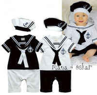 Baby Boy Sailor 2 Piece Romper with Hat Suit Grow Outfit Summer Marine 0-24m