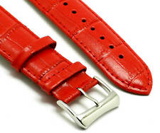 18mm Red Quality Leather Watch Strap Crocodile Grain With 2 Spring Bar