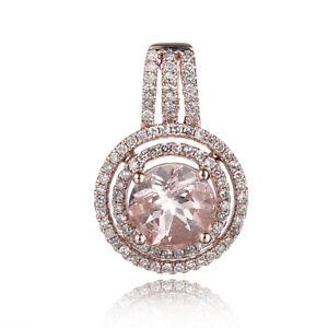 Real 10K Rose Gold 1.6ct Natural Pink Morganite & Diamond Wedding Fine Pendant