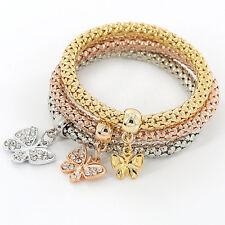 Oro Plata Oro Rosa Pulseras Set Vintage Cristal Mariposa para Mujer