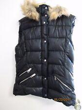 HTF LOVE TOKEN Connor Ladies Black w/ Faux Fur Hood Puffy Puffer Vest S Cute