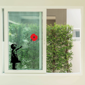 Banksy Girl with Poppy flower Remembrance day - Lest we forget sticker   Art
