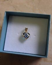 14k Yellow Gold Highly Polished Blue Evil Eye Nazar Heart Charm Pendant