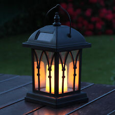 Black Solar Candle Lantern Flickering Amber LED 27cm Garden Summer Party Mood