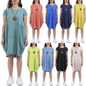 Womens Italian Plain Linen Cord Panel Cotton Jersey 2Pocket Tunic Necklace Dress