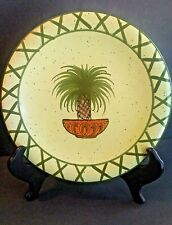 Style Eyes by Baum Bros Tropical Palm Tree Salad Desert Plate Yellow Green  8""