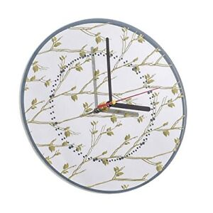 Round Mirror wall clock -Leaves pattern - 25cm. Sitting room ,dining,Kitchen