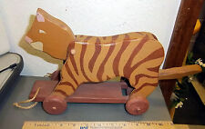 Hand made wood Cat pull along toy, Heritage toys, Sebee Maine, moving tail