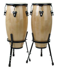 "XDRUM 10"" AND 11"" NATURAL WOODEN CONGA SET PERCUSSION HAND LATIN DRUM SET NATURE"