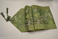 """Green Chinese Silk Brocade Table Runner Cherry Blossom & Bamboo Home Decor 90""""L"""