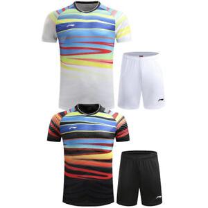 2017 World Championships Li Ning Tops tennis Men's badminton T-shirt+shorts