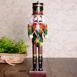30CM Wooden Nutcracker Soldier Handcraft Walnut Puppet Toy Christmas Gift Drum