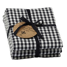 Set of 3 Black and White Small Check Heavyweight Cotton Dish Towels
