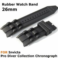 26mm Black Rubber Watch Band Strap for Invicta Pro Diver Chronograph