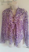 BNWT Marks & Spencer Crop Purple Zebra Print Non Fastening Cardigan/Top (UK 14)