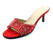 NEW Red VIA SPIGA Suede Leather Slides Sandals Heels Embroidered 7.5 M ITALY