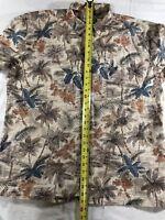 Island Shores Men's Size XL Brown Hawaiian Floral Short Sleeve Button Up Shirt