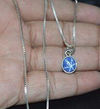 "100% Natural Star Sapphire Stone Pendant 5 CT 925 Sterling Silver Box Chain 18"""