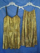 DEWEESE Leopard PEPLUM SWIMSUIT Vintage SKIRTED W/FULL SKIRT COVER Pin-Up 12/S