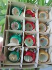 """12 Boxed Vintage Glass Indent 1 3/4"""" Round Mica Christmas Ornaments Poland 1.75"""""""