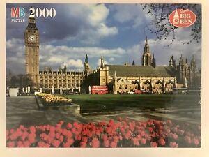 """Vtg NEW Super Big Ben 2000 Pieces Big Ben London England 27x37"""" MB 4565-14"""