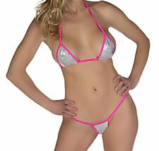 HOT micro 2pc g-string bikini silver holographic/pink hot sexy made in USA S/M