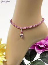 Glass Jewels Silber Fußkettchen Perlen Sommer Hellviolett Länge 24,5 cm #J055
