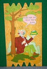 Vintage KOMIK KARD POSTCARD PLAK Comical Post Card - Bird Pooping on Bum's Head