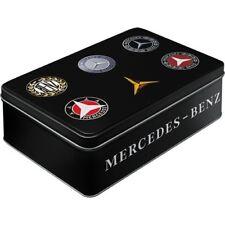 Vintage Style Retro Lidded Storage Tin Black Mercedes Merc Benz Badge