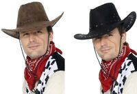 NEW Suede Look Cowboy Hat - Wild West Western Fancy Dress Costume Accessory