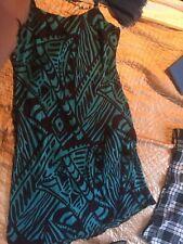 Kingfisher/Dark Chocolate bias cut dress, BM, UK 20